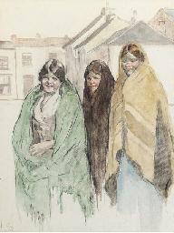 Three shawled peasants