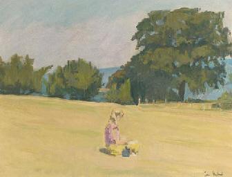 GIRL READING IN A MEADOW
