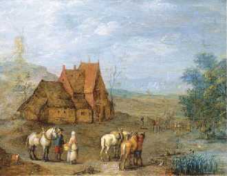 A landscape with travellers an