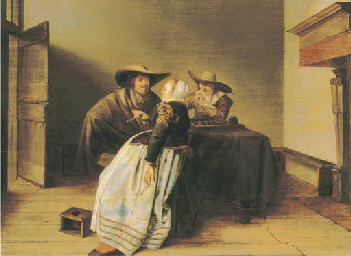 An interior with two soldiers