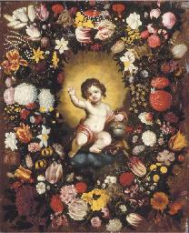 A garland of flowers surroundi