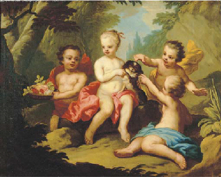 Putti and a pet dog disporting