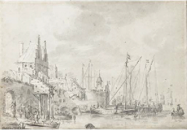 A busy harbour with figure loa