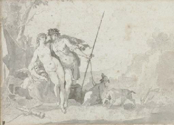 Venus and Adonis with Cupid in