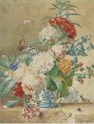 Still life with peonies, roses