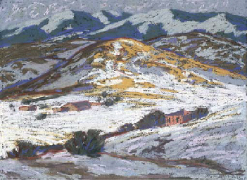 Snow Covered Hills with Adobes