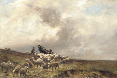 A shepherd and his sheep in a