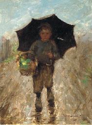 A boy with an umbrella