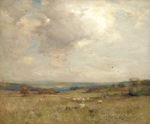 Sheep in a moorland landscape
