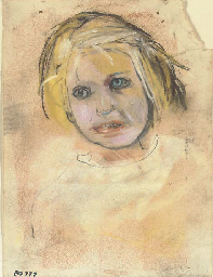 Head of girl with golden hair