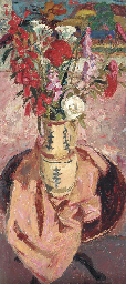 Flowers on a Round Table, Pink