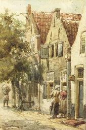 Figures conversing in a street