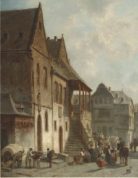 Figures conversing by the town
