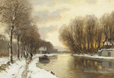 Sunset over a river in winter