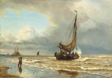 Sailing vessels in the surf