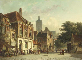 A Dutch town on market day
