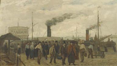 The ferry from Zaandam arrivin