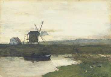 A windmill in a polder landsca