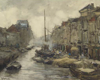 A bustling quay-side