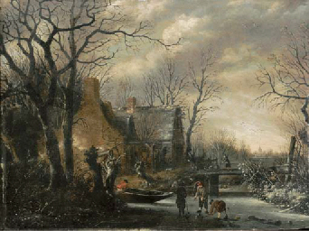 A winter landscape with peasan