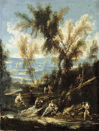 A wooded river landscape with