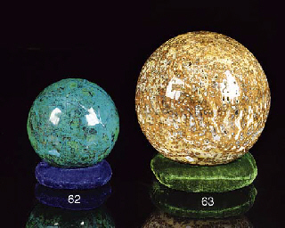 A large chrysocolla sphere,