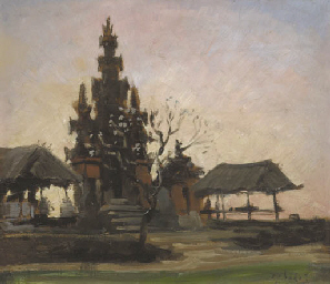 Balinese temple at sunset