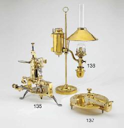 A brass oil lamp