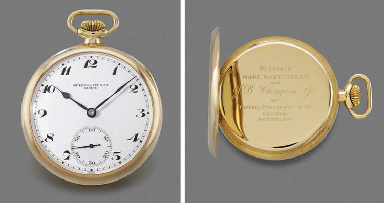 Patek Philippe. A fine 18K gold openface keyless lever watch with Guillaume balance and Bulletin de Marche