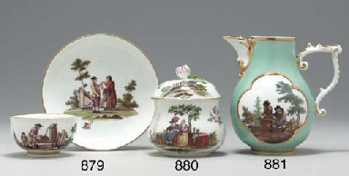 A MEISSEN TEABOWL AND A SAUCER