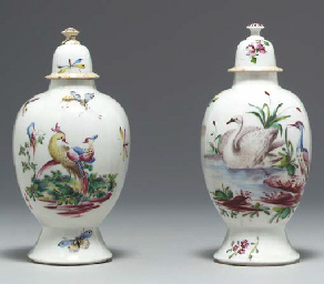 TWO BOW VASES AND COVERS