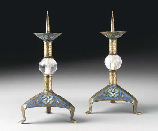 A PAIR OF ENAMEL AND ROCK CRYS