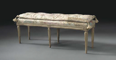 A LOUIS XVI GREY-PAINTED BANQU