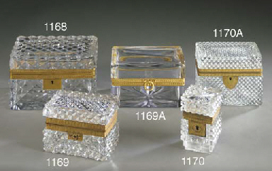 A FRENCH CUT-GLASS ORMOLU BOX