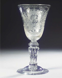 A large Dutch-engraved royal armorial goblet