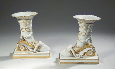 A pair of Limoges white porcel
