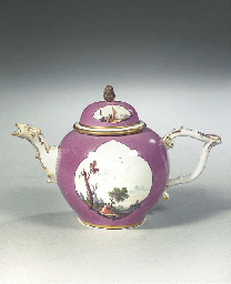 A Meissen porcelain gilt purpl