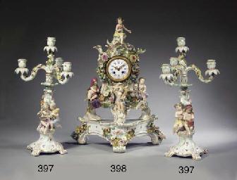 A pair of Meissen porcelain fl