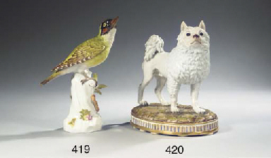 A Meissen model of a green woo