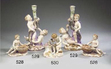 A pair of Meissen porcelain fi