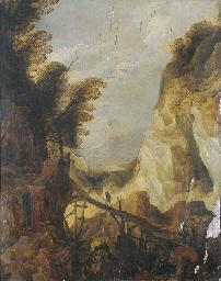 A mountainous landscape with t