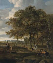 A landscape with a hawking par