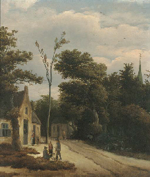 A wooded landscape with villag