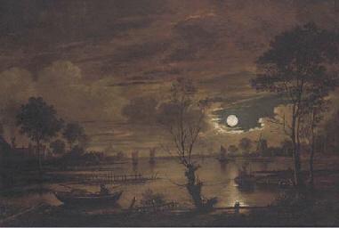 A moonlit river landscape with