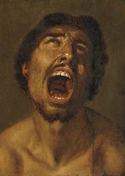 A man shouting