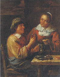 A peasant couple eating in an