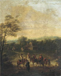 A wooded landscape with horsem