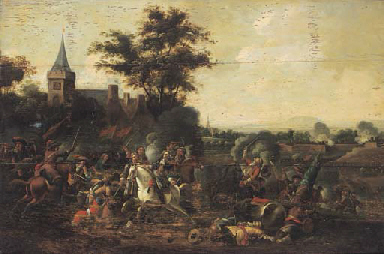 A cavalry engagement outside a
