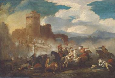 A cavalry battle outside a cas