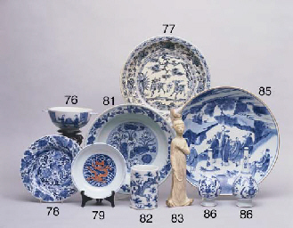 A BLUE AND WHITE TWO HANDLED B
